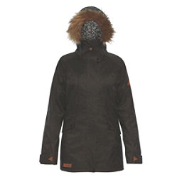 Dakine Brentwood with Detachable Faux Fur Hood Brim Womens Insulated Ski Jacket, Grey Suiting, 256