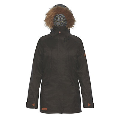 Dakine Brentwood with Detachable Faux Fur Hood Brim Womens Insulated Ski Jacket, Grey Suiting, viewer