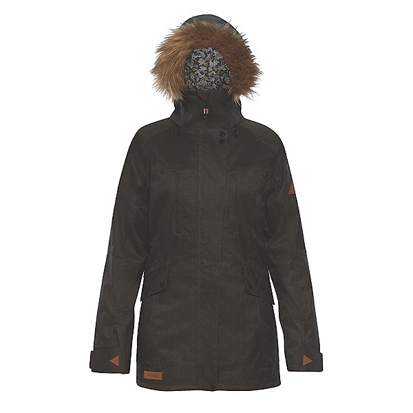 Dakine Brentwood with Detachable Faux Fur Hood Brim Womens Insulated Ski Jacket, Grey Suiting, 600