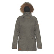 Dakine Brentwood with Detachable Faux Fur Hood Brim Womens Insulated Ski Jacket, Jungle, medium