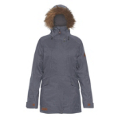 Dakine Brentwood with Detachable Faux Fur Hood Brim Womens Insulated Ski Jacket, Midnight, medium