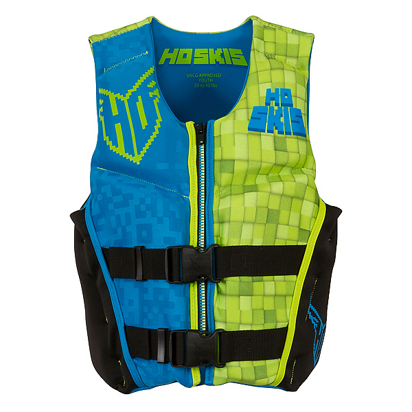 HO Sports Youth Pursuit Neo Boys Junior Life Vest 2017, Black-Green-Blue, 600