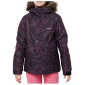 O'Neill Crystal Girls Snowboard Jacket, Black Aop-Pink, medium