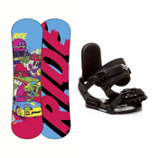Ride Lowride Stealth Kids Snowboard and Binding Package, , medium