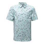 The North Face Short Sleeve Pursuit Mens Shirt, Blizzard Blue Sasquatch Print, medium