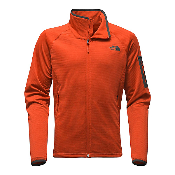 The North Face Borod Full Zip Mens Fleece, Tibetan Orange-Asphalt Grey, 600