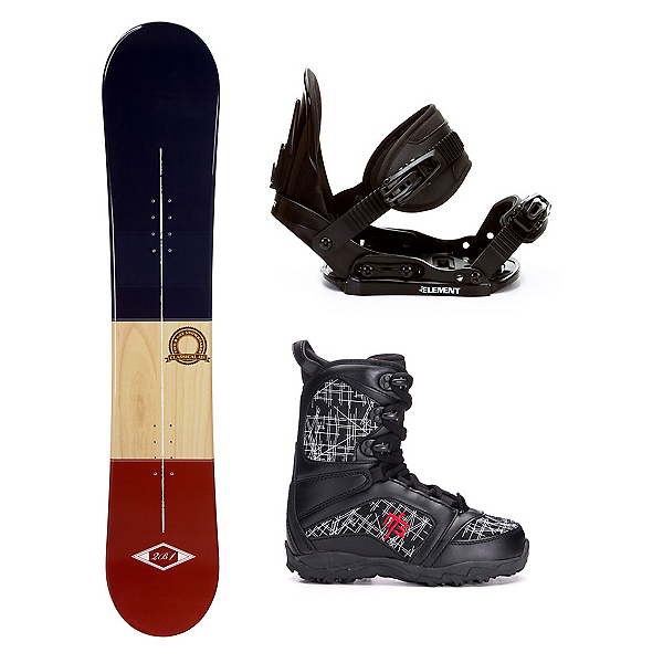 2B1 Classical Blue Militia Kids Complete Snowboard Package, , 600