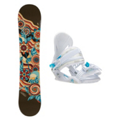Joyride Flower Brown Solstice Girls Snowboard and Binding Package, , medium