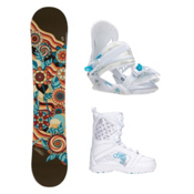 Joyride Flower Brown Venus Girls Complete Snowboard Package, , medium