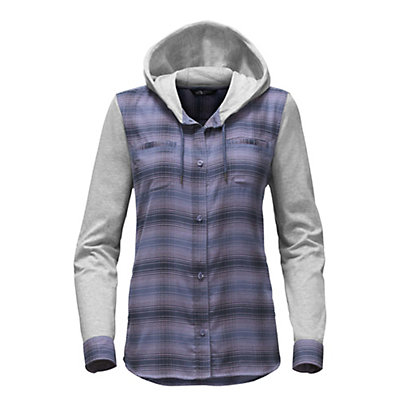 The North Face Campground Shacket Womens Jacket, Coastal Fjord Blue Plaid, viewer