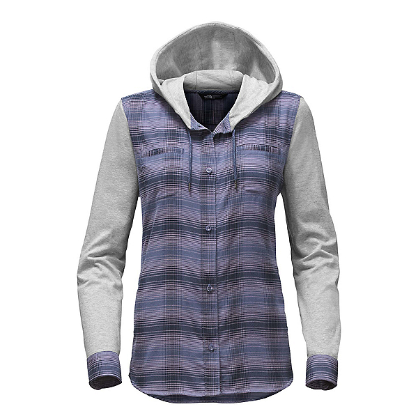 The North Face Campground Shacket Womens Jacket, Coastal Fjord Blue Plaid, 600