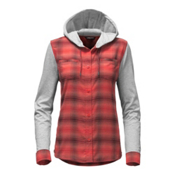 The North Face Campground Shacket Womens Jacket, Cayenne Red Plaid, medium