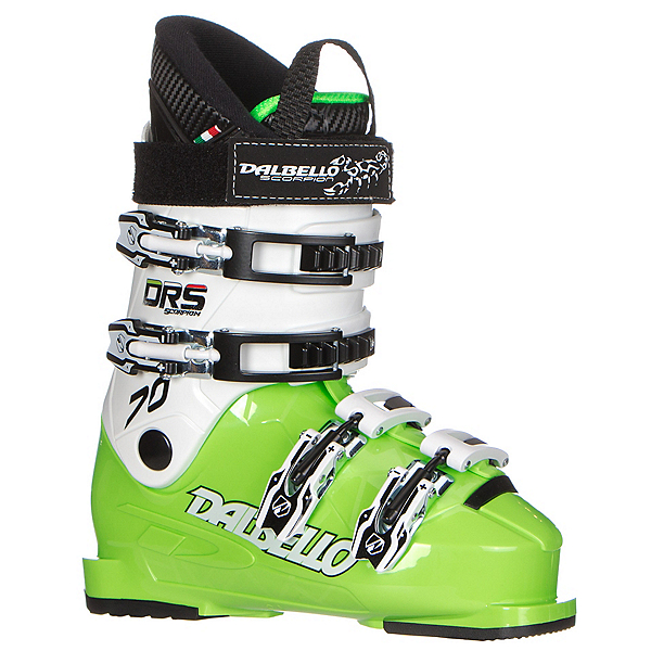 Dalbello Scorpion DRS 70 Junior Race Ski Boots, Lime-White, 600