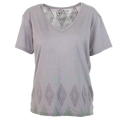 Burton Geo V-Neck Womens T-Shirt, Cloud Heather, medium