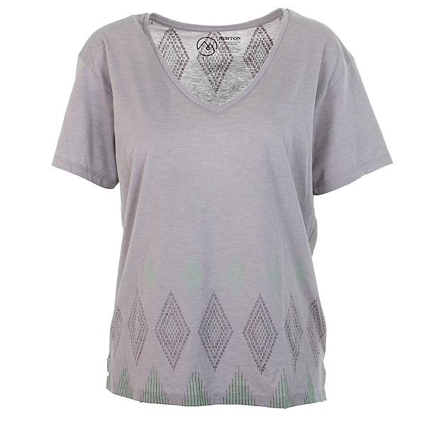 Burton Geo V-Neck Womens T-Shirt, Cloud Heather, 600