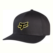 Fox Legacy Flexfit Hat, Black-Yellow, medium