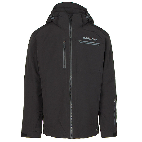 Karbon Stealth Mens Insulated Ski Jacket, Black-Black-Charcoal-Pu Film-C, 600