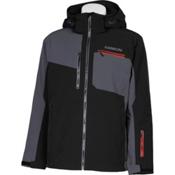 Karbon Stealth Mens Insulated Ski Jacket, Black-Charcoal-Red-Pu Film-Bla, medium