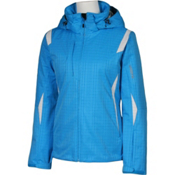 Karbon Amber Womens Insulated Ski Jacket, Blue Print-Arctic White, medium