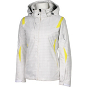 Karbon Amber Womens Insulated Ski Jacket, White Print-Yellow, medium