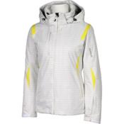 Karbon Amber Womens Insulated Ski Jacket, White Print-Yellow, medium