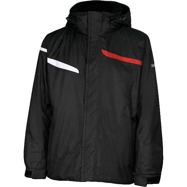 Karbon Jupiter Mens Insulated Ski Jacket, Black-Black-Red-Arctic White, 600