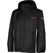 Karbon Pluto Mens Insulated Ski Jacket, Black-Arctic White-Red, medium