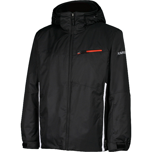 Karbon Pluto Mens Insulated Ski Jacket, Black-Arctic White-Red, 600