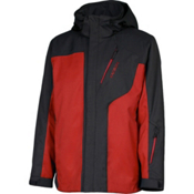 Karbon Granite Mens Insulated Ski Jacket, Black-Red-Red, medium