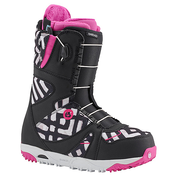 Burton Emerald Asian Fit Womens Snowboard Boots, Black-Pink-Print, 600