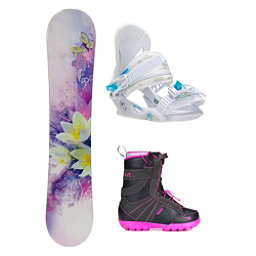 Black Fire Special Lady Purple Dahlia Girls Complete Snowboard Package, , 256