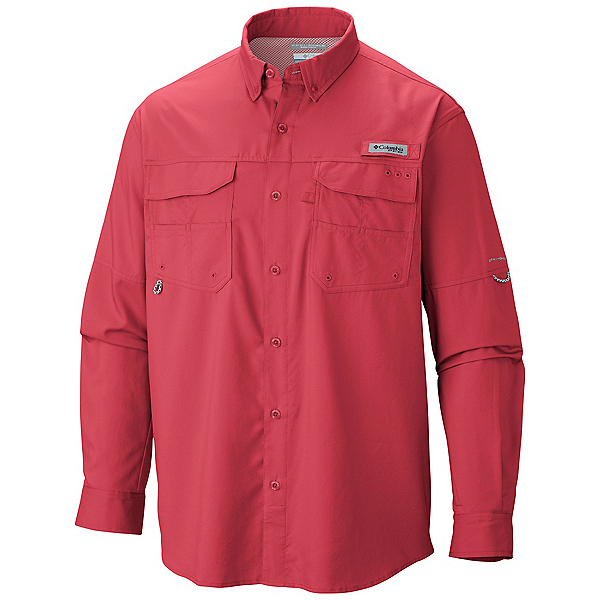 Columbia PFG Blood and Guts III Long Sleeve Woven Mens Shirt, Sunset Red, 600
