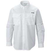 Columbia PFG Blood and Guts III Long Sleeve Woven Mens Shirt, White, medium