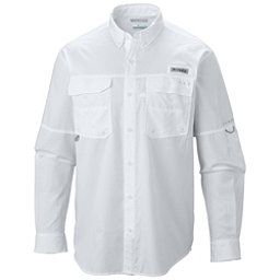 Columbia PFG Blood and Guts III Long Sleeve Woven Mens Shirt, White, 256