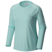 Columbia PFG Tidal Tee II Long Sleeve Womens Shirt, Blueglass-White, medium