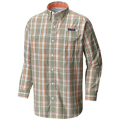 Columbia PFG Super Low Drag Long Sleeve Mens Shirt, Safari Multi Plaid, medium