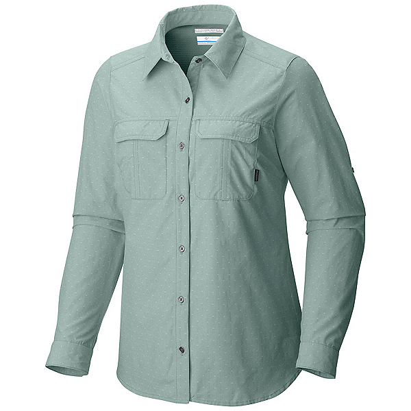 Columbia Pilsner Peak Long Sleeve Womens Shirt, Dusty Green Dobby, 600