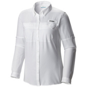 Columbia PFG Lo Drag Long Sleeve Womens Shirt, White, medium