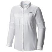 Columbia PFG Lo Drag Long Sleeve Womens Shirt, White, medium