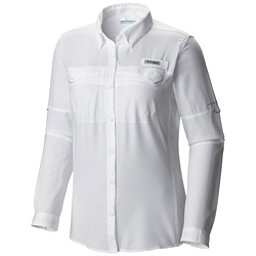 Columbia PFG Lo Drag Long Sleeve Womens Shirt, White, 256
