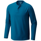Mountain Hardwear MHW AC Long Sleeve Henley Mens Shirt, Phoenix Blue, medium