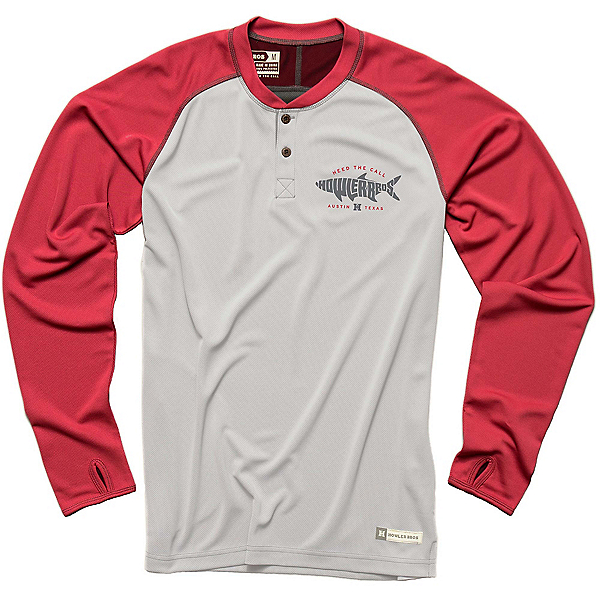 Howler Brothers Loggerhead Mens Shirt, Crimson-Light Grey, 600