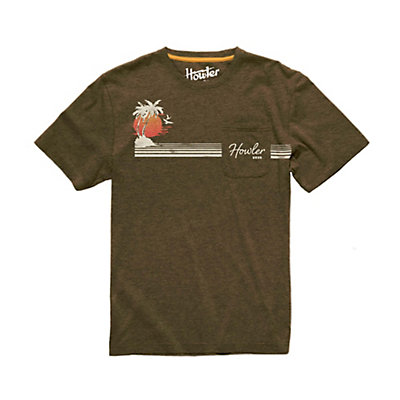 Howler Brothers Classic Pocket Mens T-Shirt, Cocoa Heather, viewer