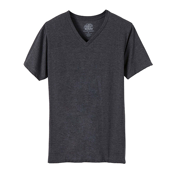 Prana V-Neck Mens T-Shirt, Charcoal, 600