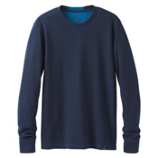 Prana Wes Long Sleeve Crew Mens Sweatshirt, Dress Blue, medium