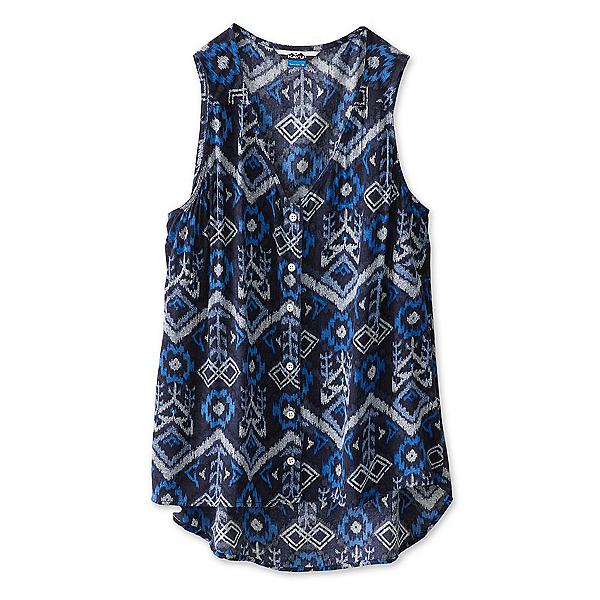 KAVU Beryl Womens Shirt, Blue Ikat, 600