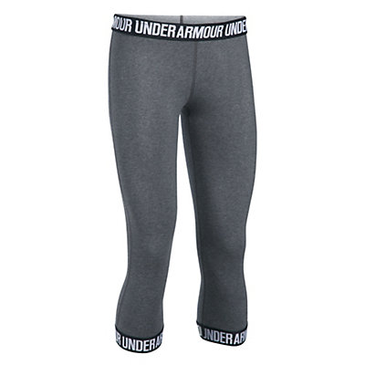 Under Armour Favorite Capri Womens Pants, Carbon Heather-Black-Metallic, viewer