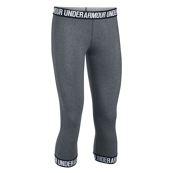Under Armour Favorite Capri Womens Pants, Carbon Heather-Black-Metallic, 600