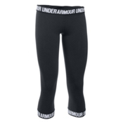 Under Armour Favorite Capri Womens Pants, Black-Black-Metallic Silver, medium