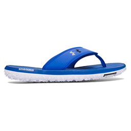 Under Armour Fat Tire Mens Flip Flops, White-Midnight Navy-Ultra Blue, 256